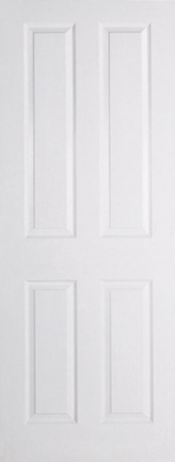 White Moulded Textured Fire Door (4P)